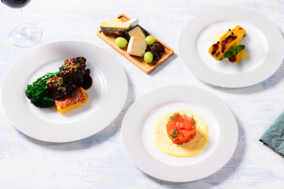 There are four courses included, with meat and vegetarian options