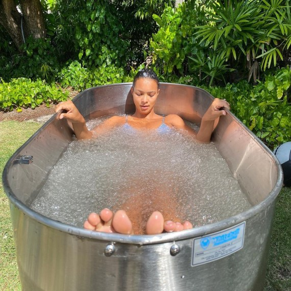 The 30-year-old photographed taking an ice bath