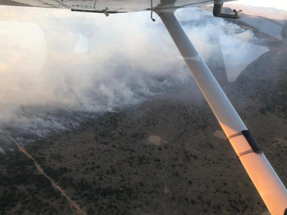 Aerial footage showed it burning for miles