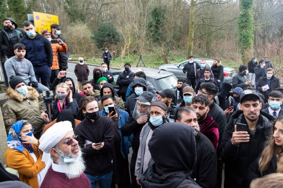 Protesters gathered outside Batley Grammar School on Thursday