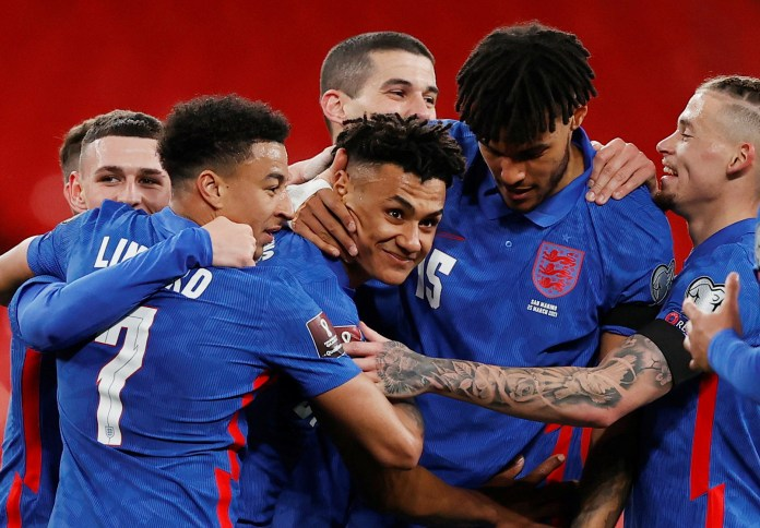 Ollie Watkins scored a last-minute debut goal for England as they beat San Marino 5-0