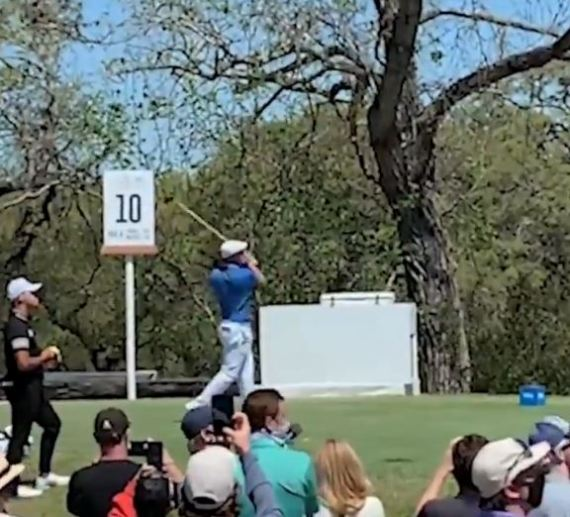 Bryson DeChambeau's drive on the tenth hole at the WGC Match Play went just 46 yards