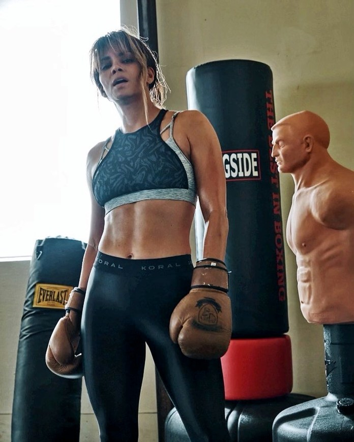 Halle Berry shows her punchy side to promote a new fitness programme