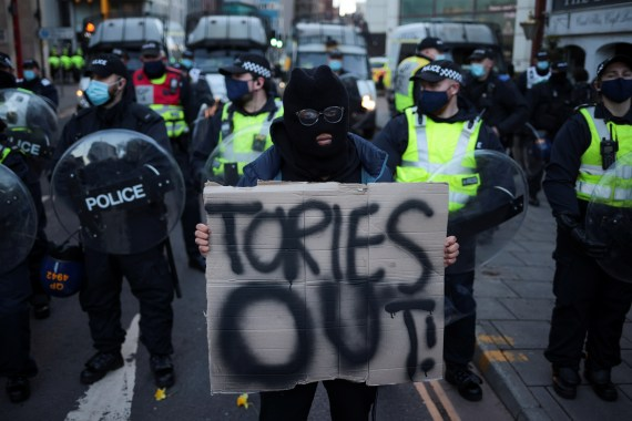 Others held placards saying 'Kill the Bill' and 'Tories Out'