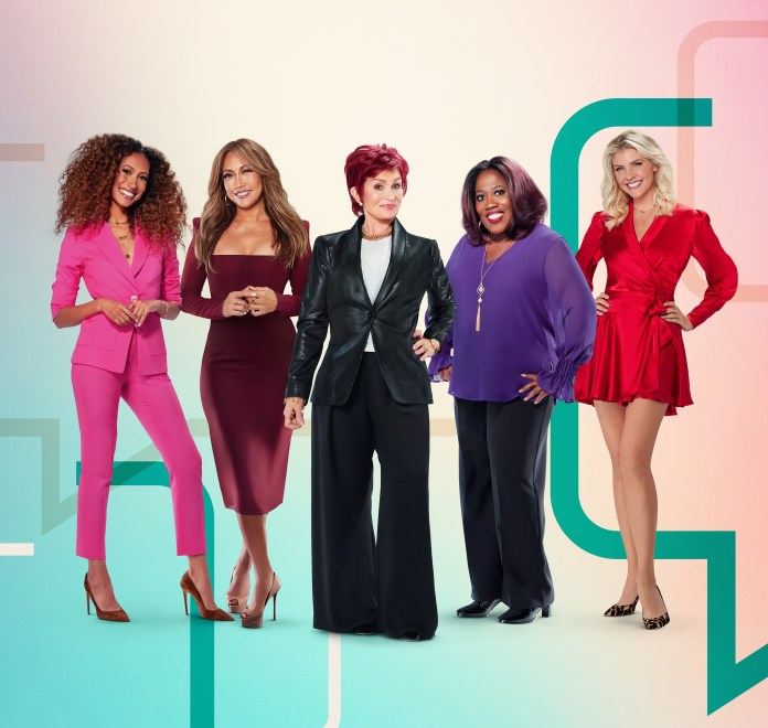 Elaine Welteroth, Carrie Ann Inaba, Sharon Osbourne, Sheryl Underwood and Amanda Kloots, hosts of the CBS series The Talk