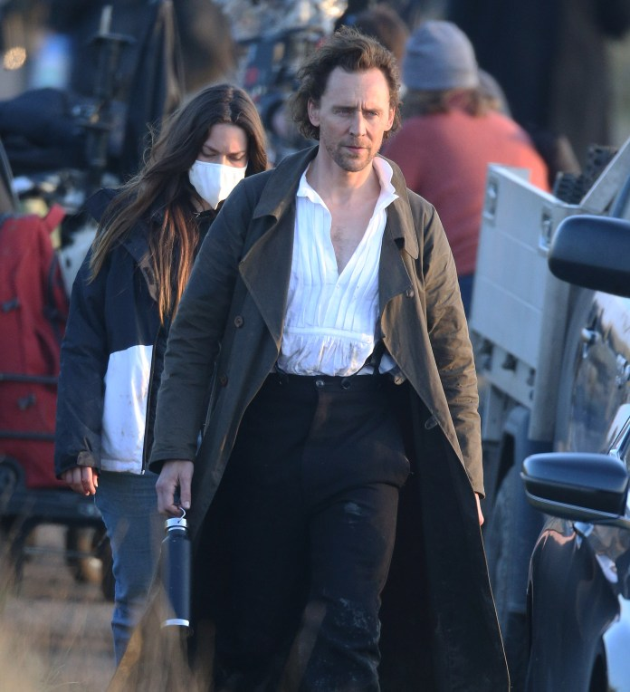 Tom on set filming a scene in Essex as Victorian vicar William Ransom for the Apple+ adaptation of Sarah Perry's hit novel
