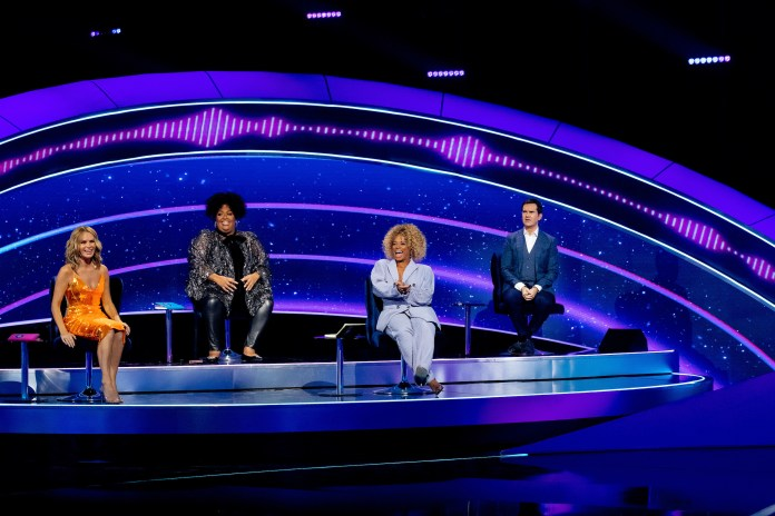 Comedian Jimmy Carr is joined by Amanda Holden and Alison Hammond on BBC's I Can See Your Voice panel with guest judge Fleur East