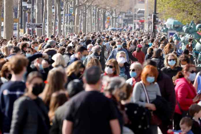 The Champs-Elysees was teeming with people today