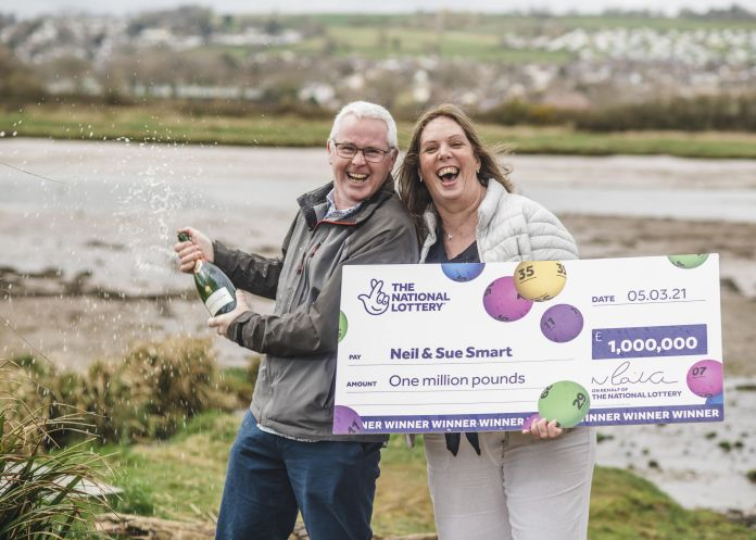 A lucky couple are celebrating their £1million Euromillions UK Millionaire Maker prize which will help them care for their disabled son