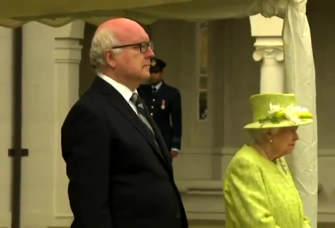 When the Queen arrived at Runnymede she was greeted by George Brandis, High Commissioner for Australia