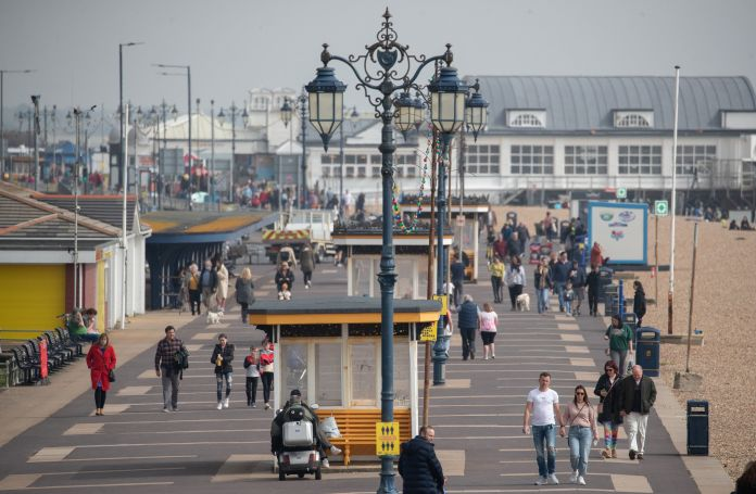 People make their way along Southsea Esplanade
