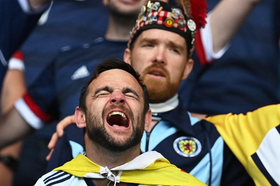Scotland fans singing Flower of Scotland inside a buzzing Hampden Park at Euro 2020