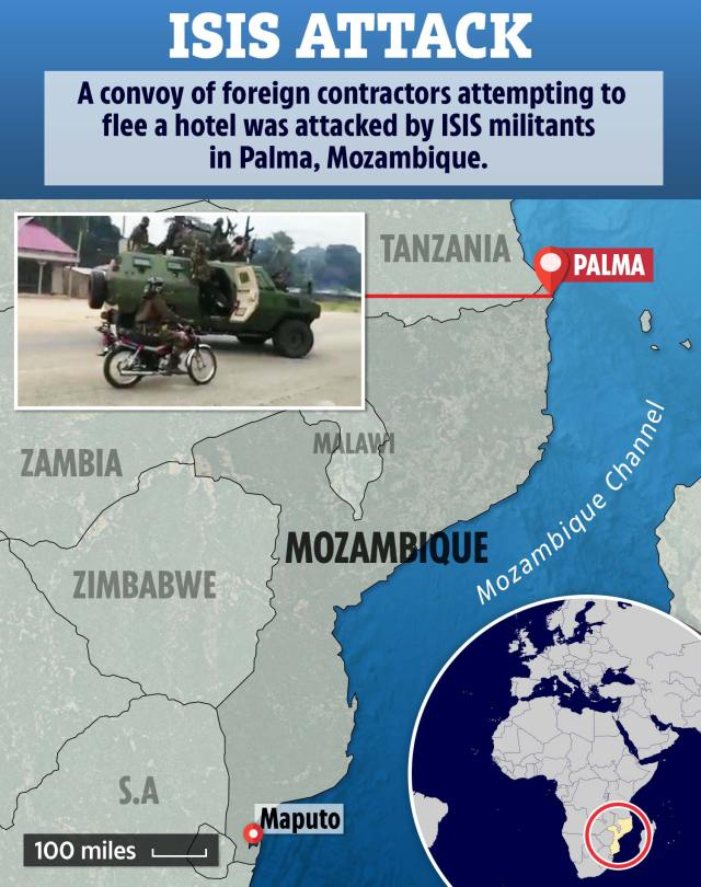 More than 100 civilians were killed during a terror attack on the Mozambique city of Palma