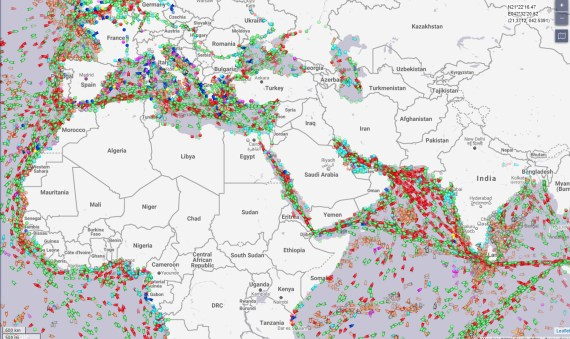 A marine traffic map reveals the logjam of ships caused by the Ever Given blocking the Suez Canal