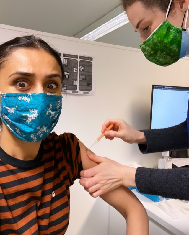 TV host Anita Rani received her first jab on Wednesday