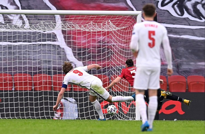 Harry Kane fired the Three Lions ahead before the break
