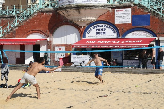 Beachgoers made the most of the fine weather in Brighton