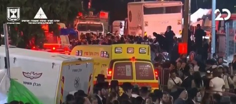 Ambulances tried to make it through huge crowds of people