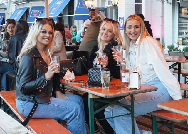 Pals enjoy a drink in Newcastle