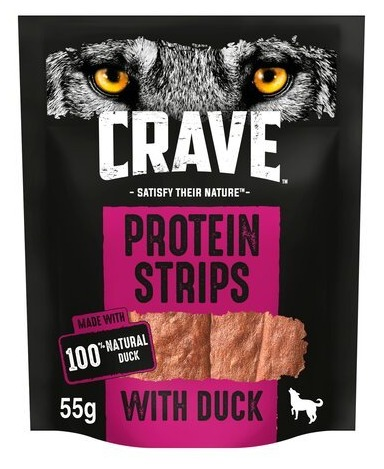 Crave dog protein strips with duck are just £1.25 at Tesco with a Clubcard