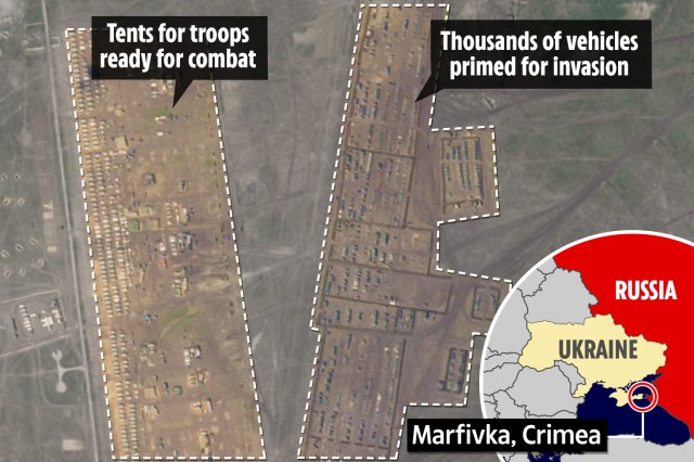 Satellite images show a giant military base in Marfivka, Crimea