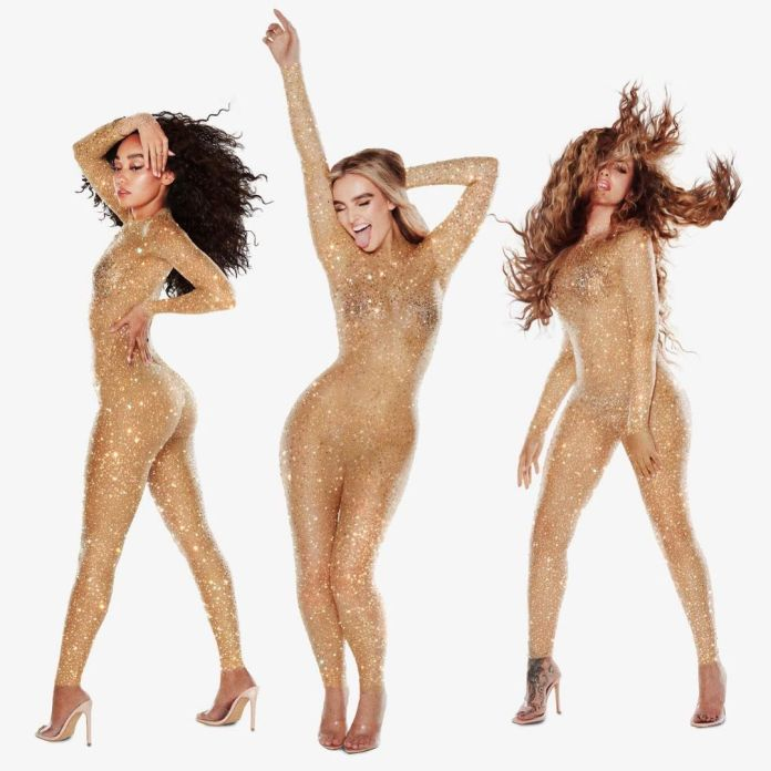 Little Mix Perrie Edwards, Leigh-Anne Pinnock and Jade Thirlwall celebrate number one record as a trio in Britney Spears-eque bodysuits
