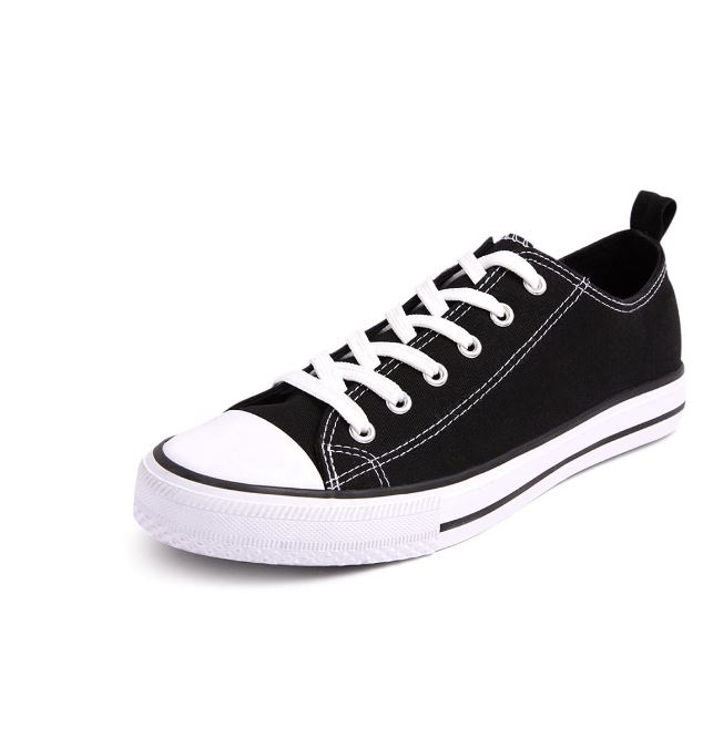 ...when you can get a similar look with Primark's black-canvas low-tops for just £6