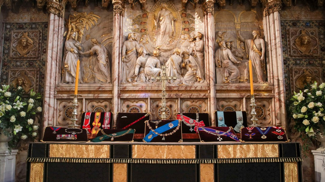 The altar inside St George's Chapel shows the Duke's insignia and medals