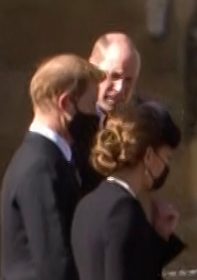 Prince Harry, William and the Duchess of Cambridge deep in conversation after the funeral