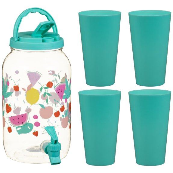 You can get this bright dispenser and four cups for just £5 at B&M