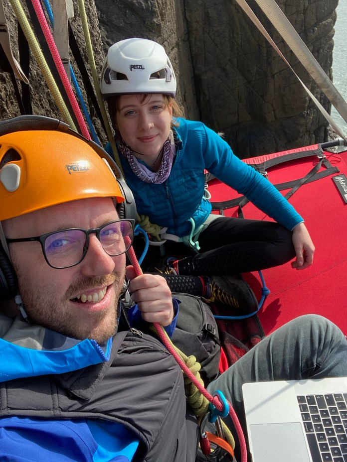 Jason was helped by pro climber Anna Taylor