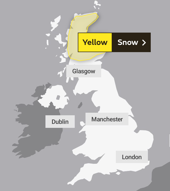 There is a yellow weather warning in place for snow on Sunday and Monday