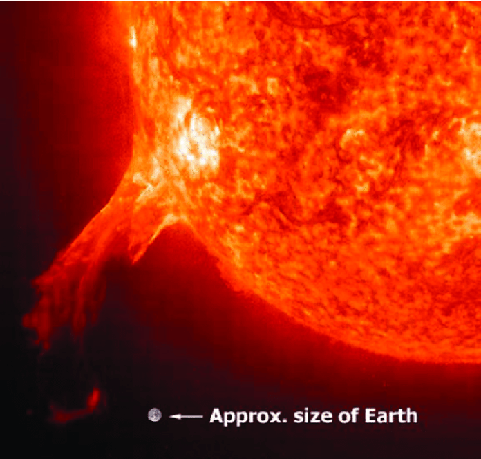 Solar storms are enormous ejections of charged particles from the Sun