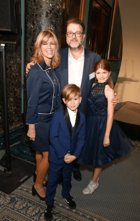 Pictured before he was struck down with Covid: Derek Draper is back home with wife Kate Garraway and children Darcey and Billy