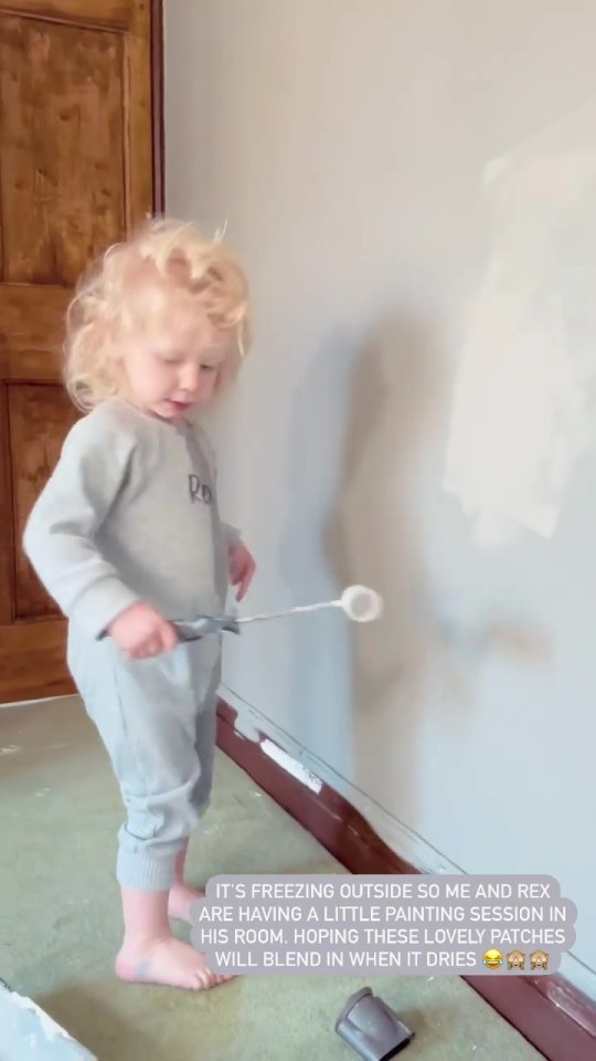Even Rex got stuck into the painting