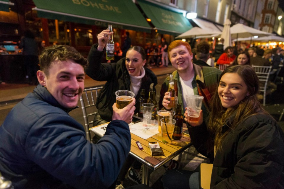 Friends gathered over beers after four months of lockdown