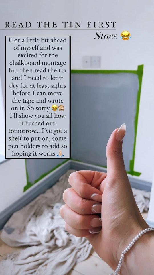 The DIY chalkboard is underneath Rex's TV