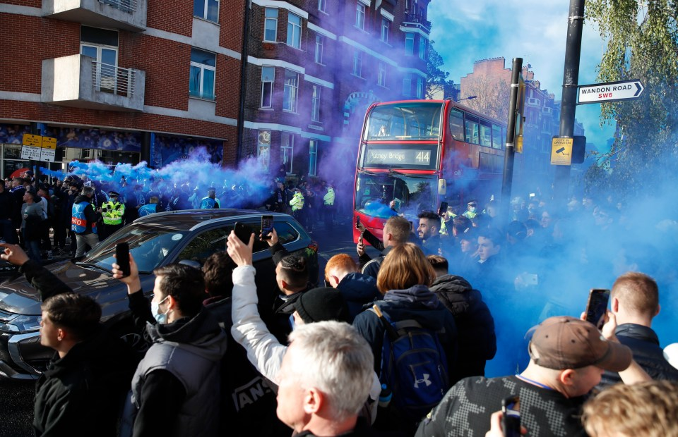 Chelsea fans lined the streets with flares ahead of kick-off