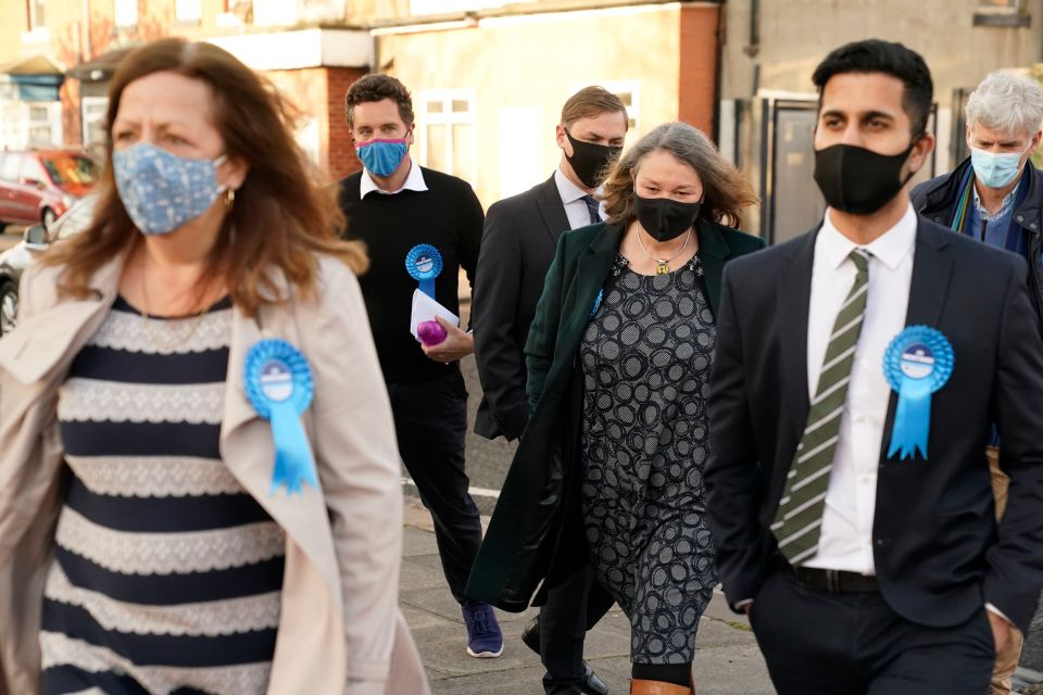 Jill, third from right, arriving at the count this morning to hear the results