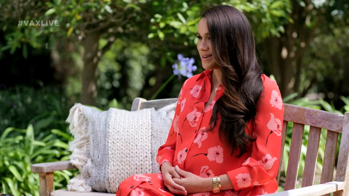 Pregnant Meghan Markle shows off baby bump in Vax Live speech in first TV appearance since Oprah interview