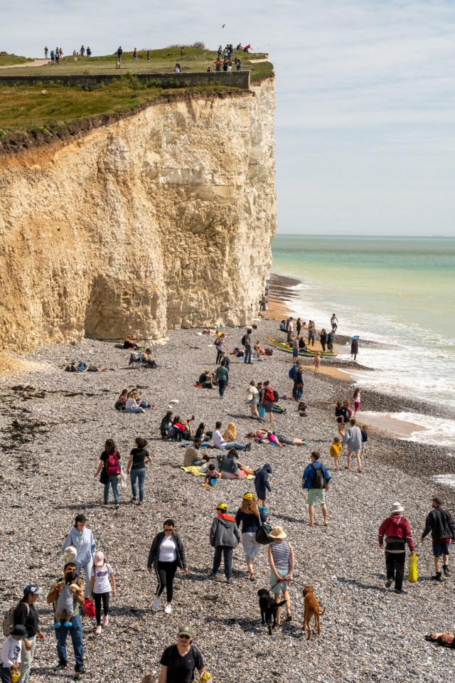 People flocked to Birling Gap, Seven Sisters National Park, East Sussex this long weekend