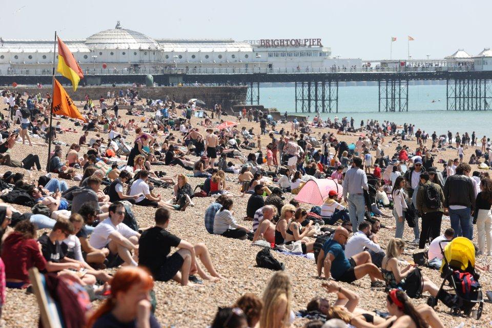 Beaches were packed in Brighton yesterday