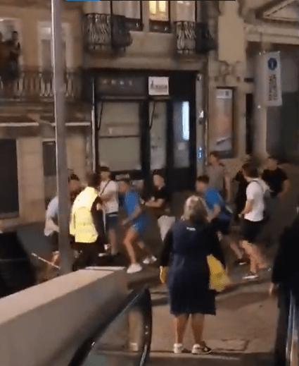 Brawling broke out near a station last night