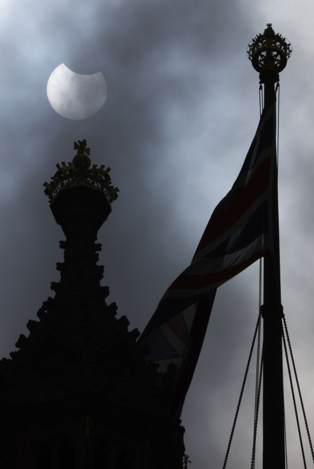 Above the Houses of Parliament in London