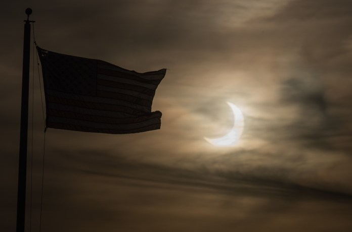 Sunrise eclipses over Scituate Massachusetts in the US