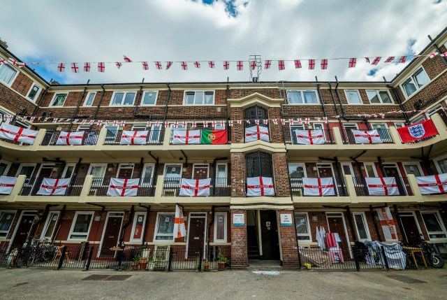 Residents in Bermondsey's Kirby Estate, South-East London, have put up around 400 England flags