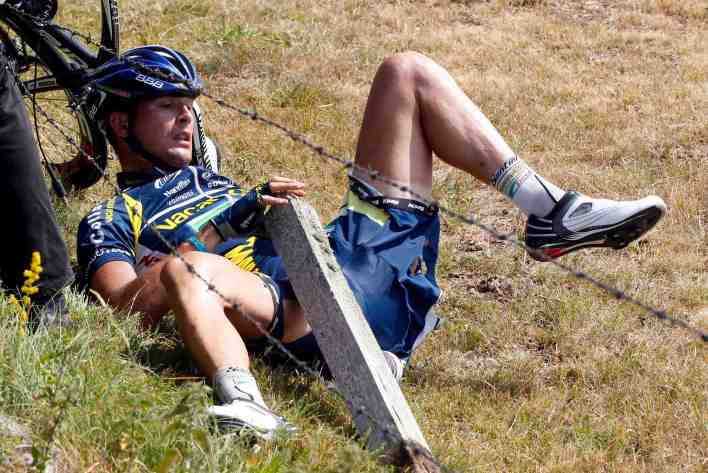 Dutchman Johnny Hoogerland required 33 stitches after being sent flying into barbed wire