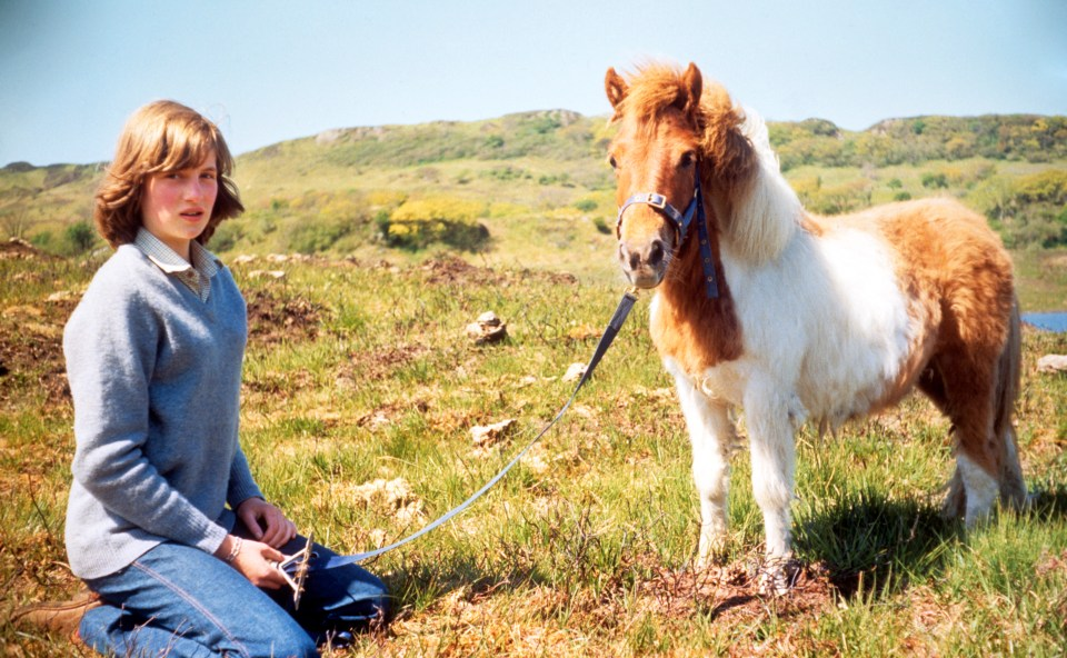 Lady Diana Spencer with Souffle, a Shetland pony, at her mother's home in Scotland during the summer of 1974