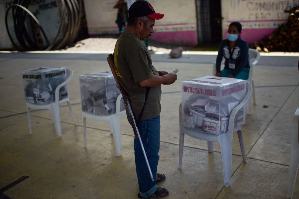 A vote is cast in Nahuat community of Ayahualtempa, Guerrero state, Mexico