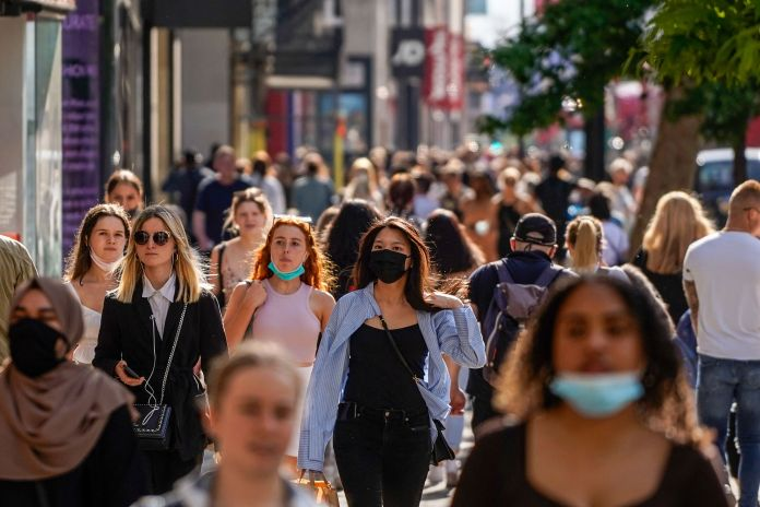The Delta variant has spread more in the UK. Pictured: Busy Oxford Street in central London